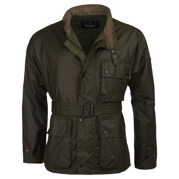 Barbour Trajan Waxed Cotton Jacket - Olive - Arena Menswear
