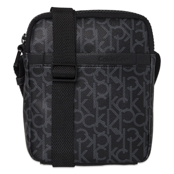 Calvin Klein Strapped Mono Mini Reporter Bag - Black Monogram - Arena Menswear