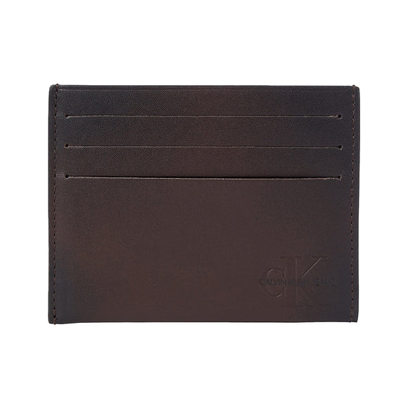 Calvin Klein Logo Leather Card Holder Wallet - Bitter Brown