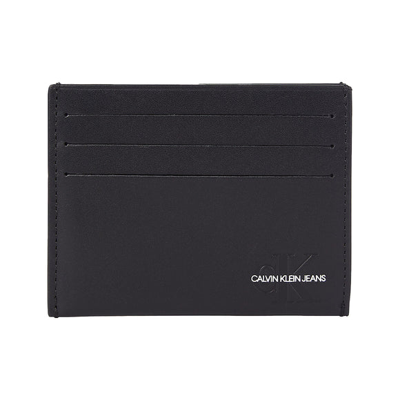 Calvin Klein Logo Leather Card Holder Wallet - Black