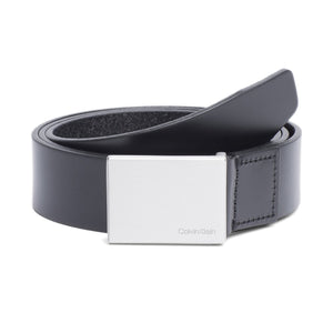 Calvin Klein Leather Formal Plaque Belt - Black