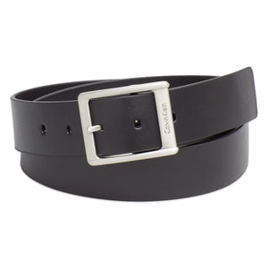 Calvin Klein Leather Square Buckle Belt - Black - Arena Menswear