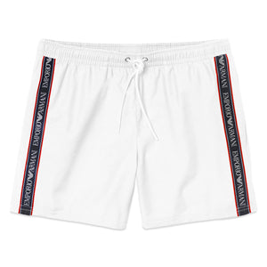 Emporio Armani Tape Swim Shorts - White