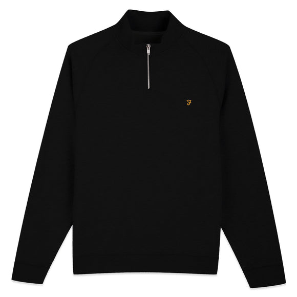 Farah New Jim 1/4 Zip Cotton Sweat - Black