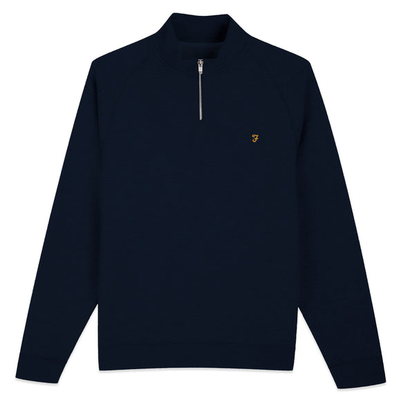 Farah New Jim 1/4 Zip Cotton Sweat - Navy