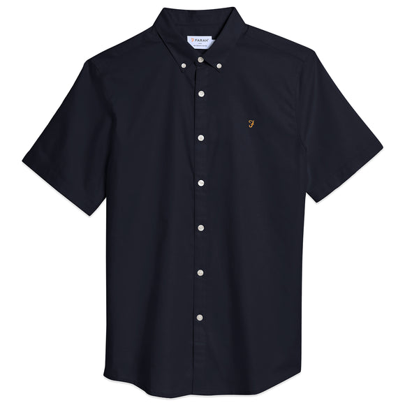 Farah Brewer Short Sleeve Slim Fit Oxford Shirt - Navy