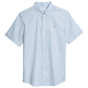 Farah Brewer Short Sleeve Slim Fit Oxford Shirt - Sky Blue
