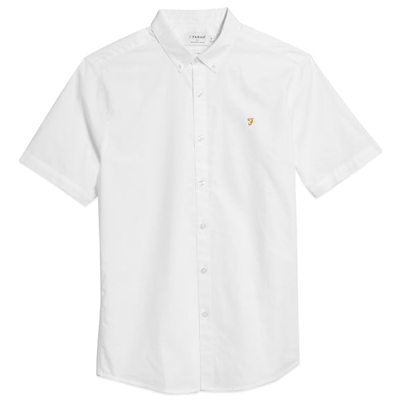 Farah Brewer Short Sleeve Slim Fit Oxford Shirt - White