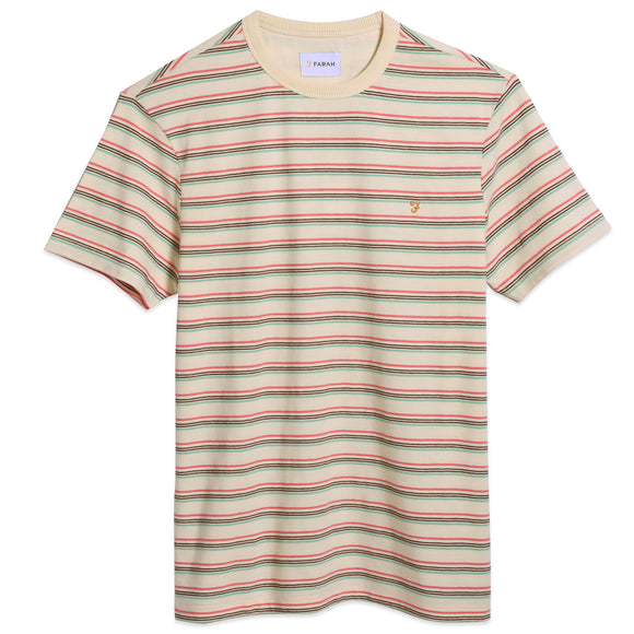 Farah Canyon Stripe T-Shirt - Cream