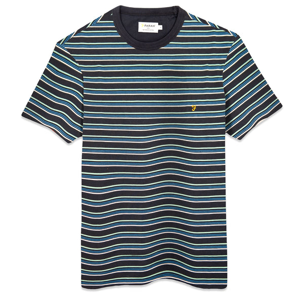 Farah Canyon Stripe T-Shirt - True Navy