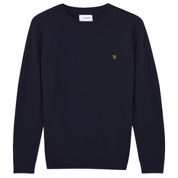 Farah Rosecroft Lambswool Crew Jumper - Navy