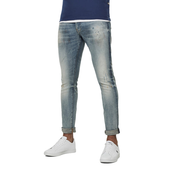 G-Star Revend Skinny Jeans - Elto Superstretch Antic Faded Lapo Blue Destroyed