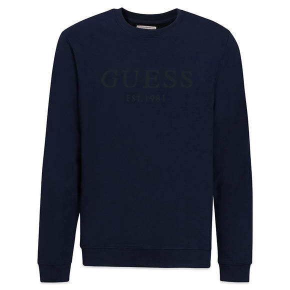 Guess Beau Fleece Crew Sweat - Navy