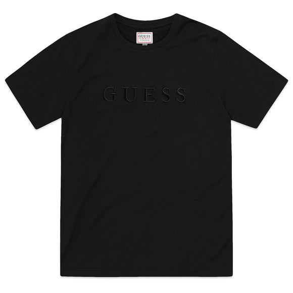 Guess Pima Cotton Embroidery Logo T-Shirt - Black