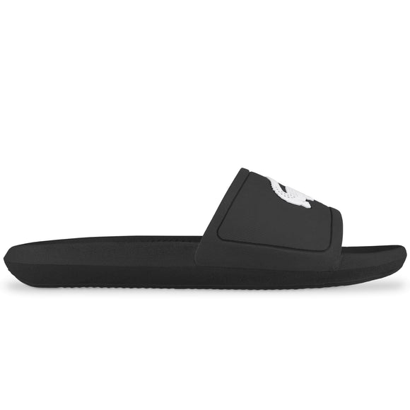 Lacoste Croco Rubber Sliders - Black/White