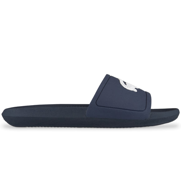 Lacoste Croco Rubber Sliders - Navy/White