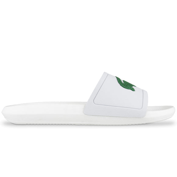 Lacoste Croco Rubber Sliders - White/Green