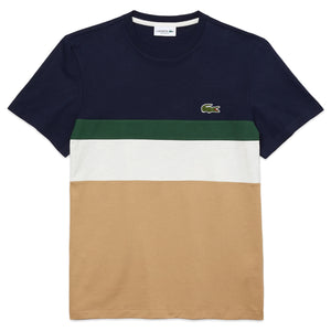 Lacoste Blocked Stripe T-Shirt TH1884 - Navy/Beige