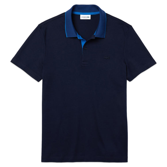 Lacoste Contrast Collar Stretch Jersey Polo DH1886 - Navy