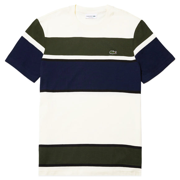 Lacoste Colourblock Striped Cotton T-Shirt TH4308 - Ecru/Khaki/Navy