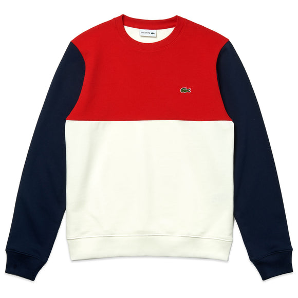 Lacoste Colour Block Crew Neck Sweat SH5185 - White/Red/Navy