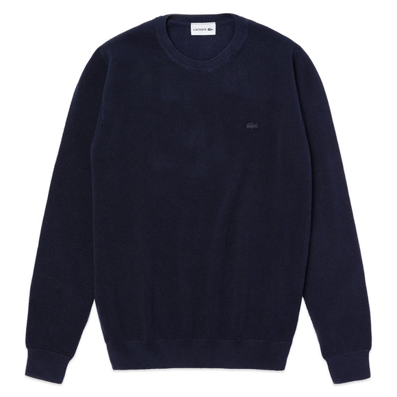 Lacoste Pique Cotton Knit Crew Neck Jumper AH4082 - Navy