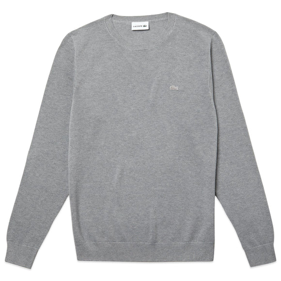 Lacoste Pique Cotton Knit Crew Neck Jumper AH4082 - Silver Grey