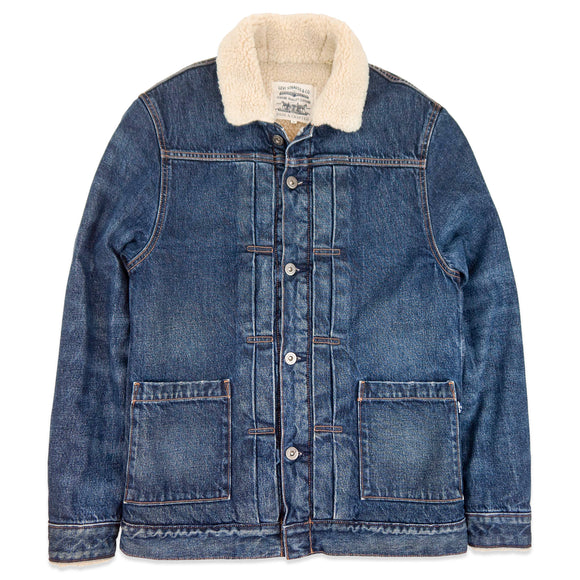 Levi's Made & Crafted Type Li Sherpa Trucker Jacket - Stonewash/White