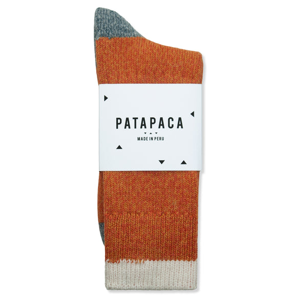 Patapaca Heavyweight Melange Socks - Orange/Grey