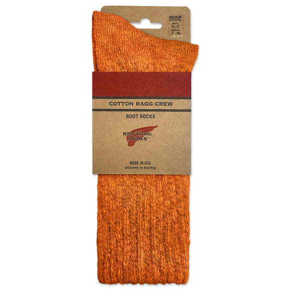 Red Wing Cotton Ragg Crew Boot Sock - Rust