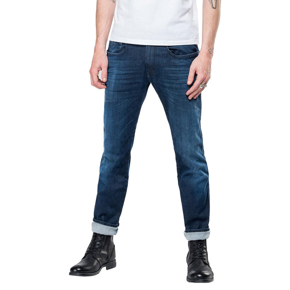 Replay Hyperflex Anbass CLOUDS Edition Slim Fit Jeans - Washed Mid Blue