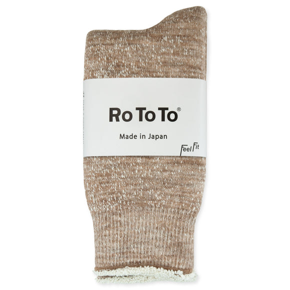 RoToTo Double Face Merino Wool Socks - Camel