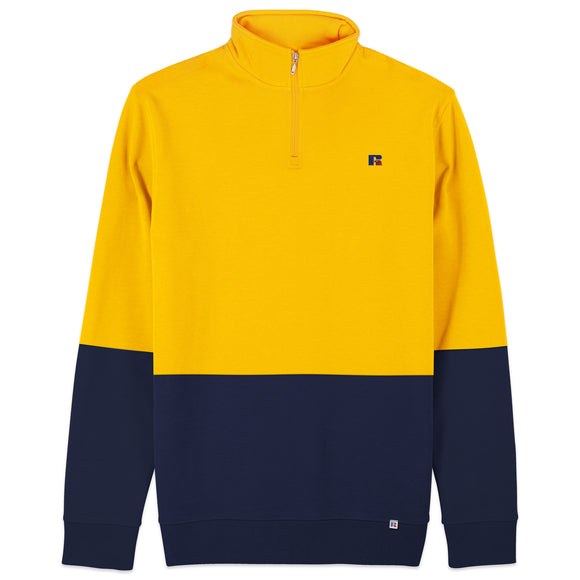 Russell Athletic Walter Embro Logo 1/4 Zip Sweat - Yellow/Navy