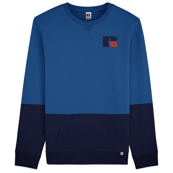 Russell Athletic Wayne Flocked Logo Colour Block Sweat - Blue/Navy