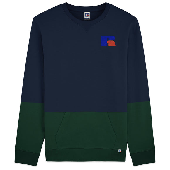 Russell Athletic Wayne Flocked Logo Colour Block Sweat - Navy/Green