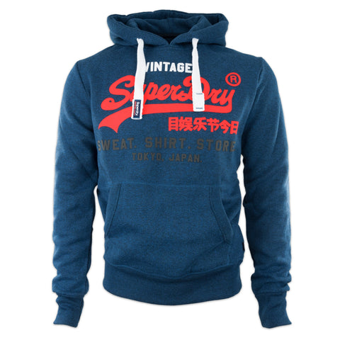 Superdry Tri Colour Store Hood - Peppered Blue Grit