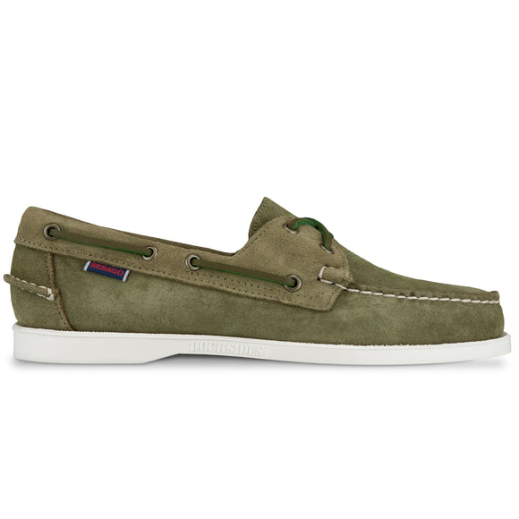 Sebago Docksides Portland Suede Shoes - Green Military