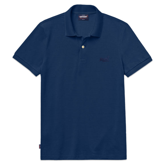 Superdry Classic Micro Lite Pique Polo - Mid Blue