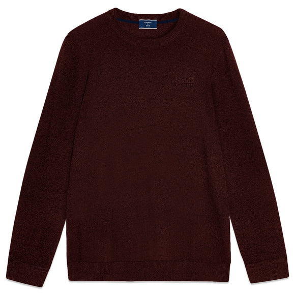 Superdry Orange Label Crew Knit - Cranberry Marl