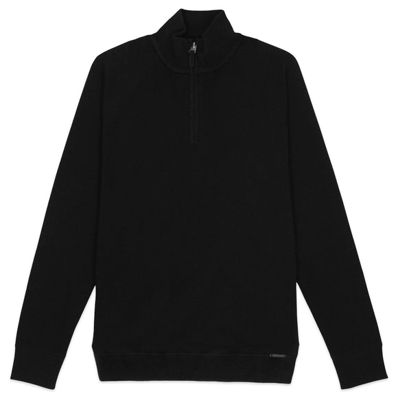 Superdry Orange Label 1/4 Zip Henley - Black