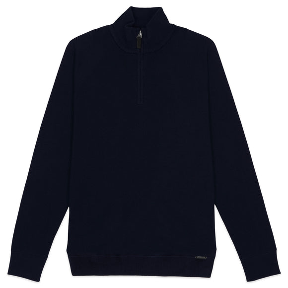 Superdry Orange Label 1/4 Zip Henley - Dark Navy