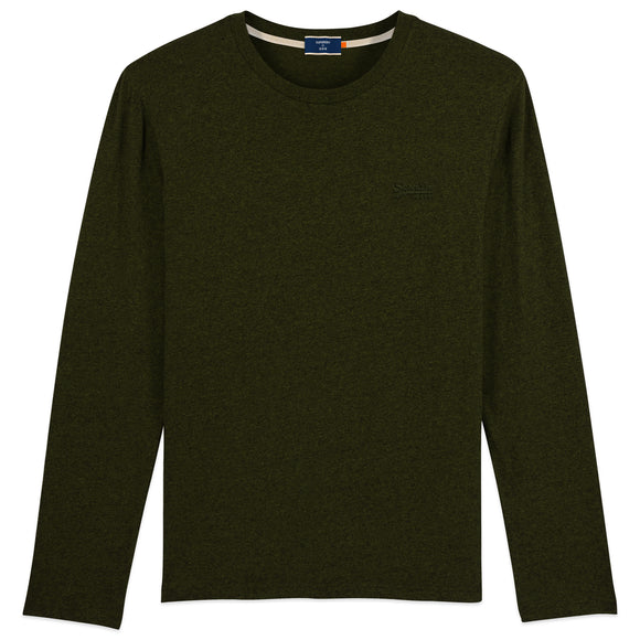 Superdry Orange Label Vintage Embroidery Long Sleeve T-Shirt - Winter Khaki