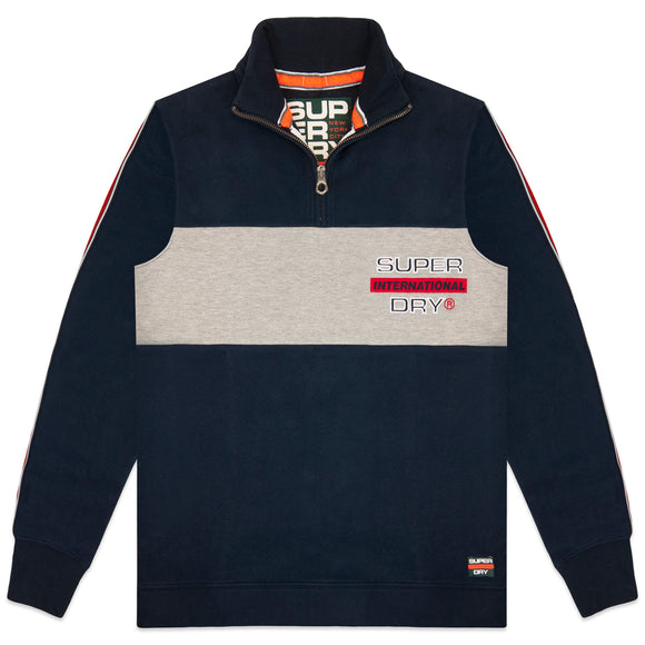 Superdry Applique Colour Block Henley - Highland Navy