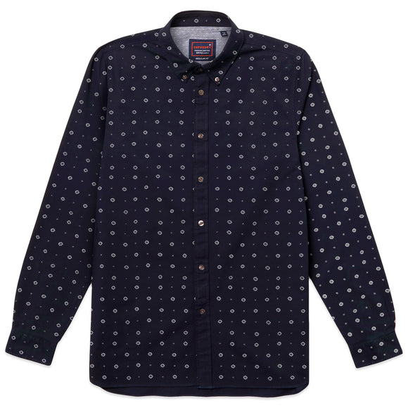 Superdry Classic Shoreditch Print Long Sleeve Shirt - Lotus Paisley Indigo