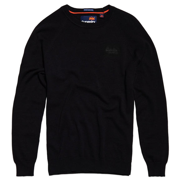 Superdry Orange Label Cotton Crew Jumper - Black