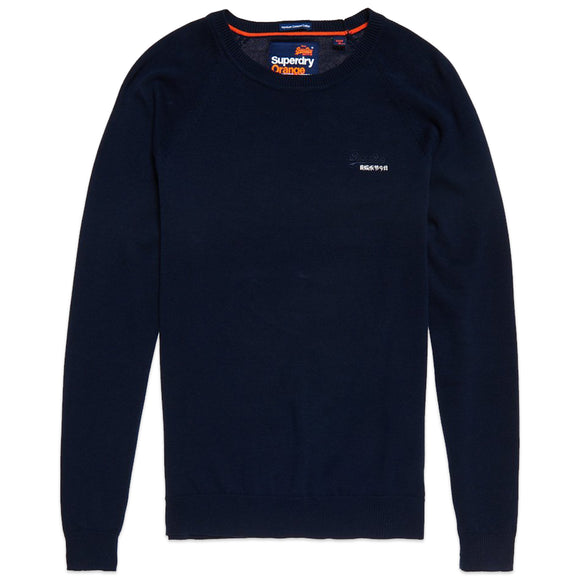 Superdry Orange Label Cotton Crew Jumper - Classic Navy