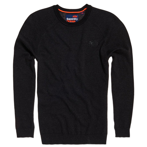Superdry Orange Label Cotton Crew Knit - Dark Nordic Feeder