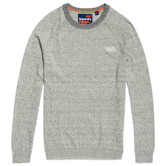 Superdry Orange Label Cotton Crew Knit - Shale Feeder