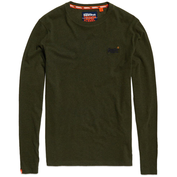 Superdry Orange Label Vintage Embroidery Long Sleeve T-Shirt - Nordic Khaki Marl