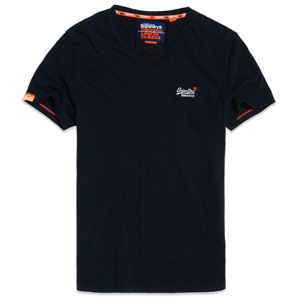 Superdry Orange Label Vintage Embroidery V-Neck T-Shirt - Eclipse Navy